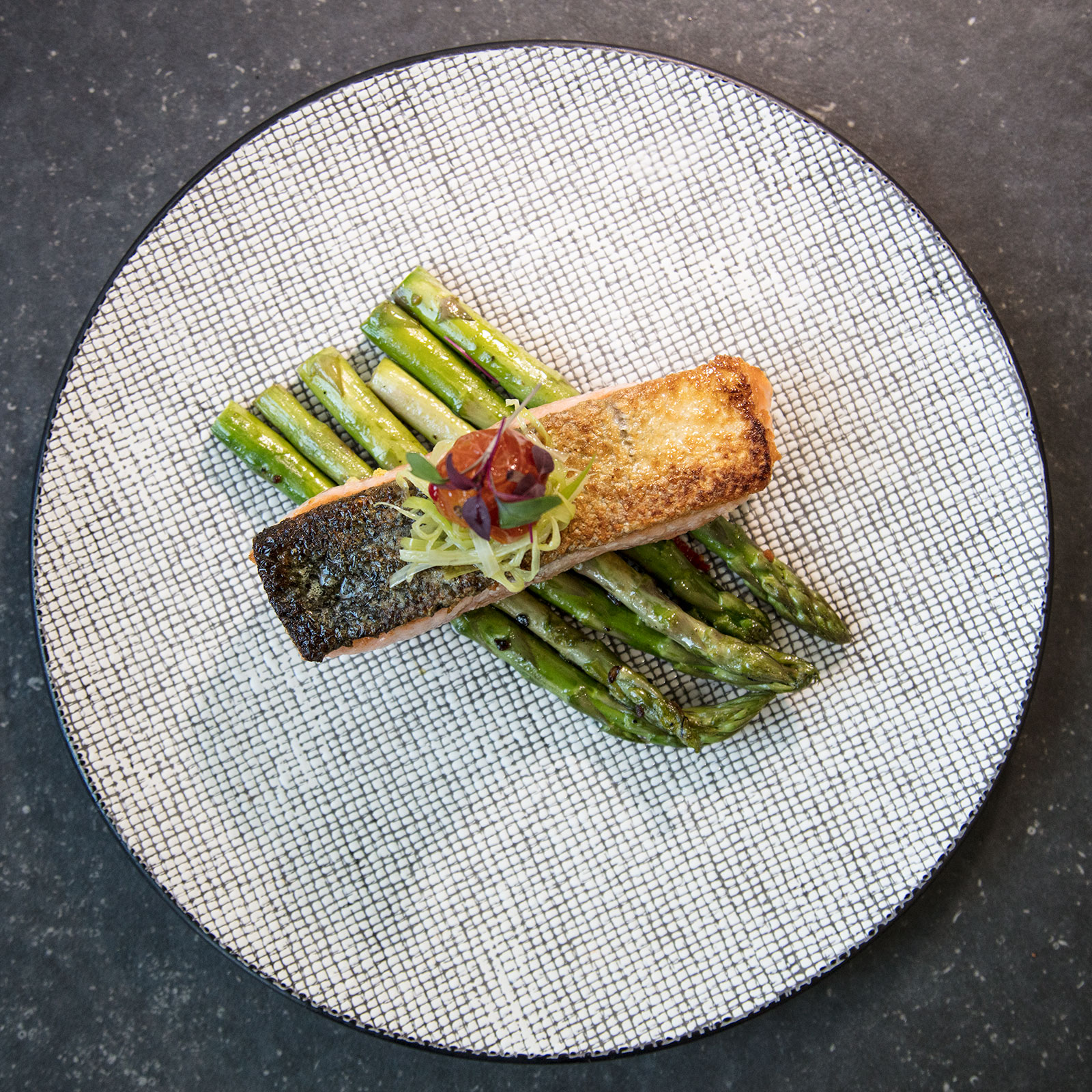 Grilled Salmon on asparagus