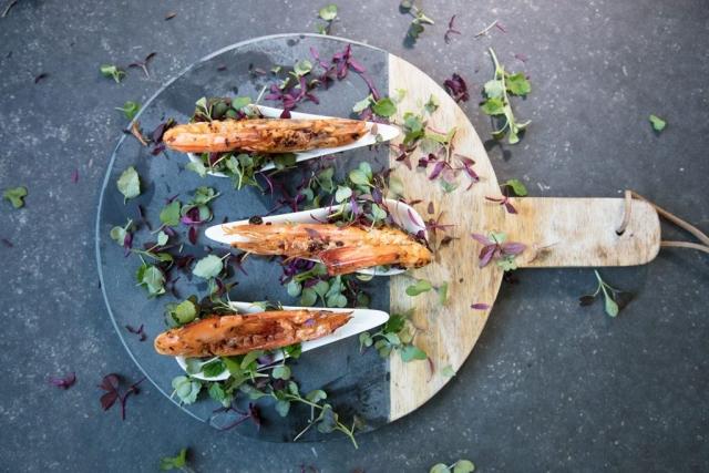 Char-grilled prawns