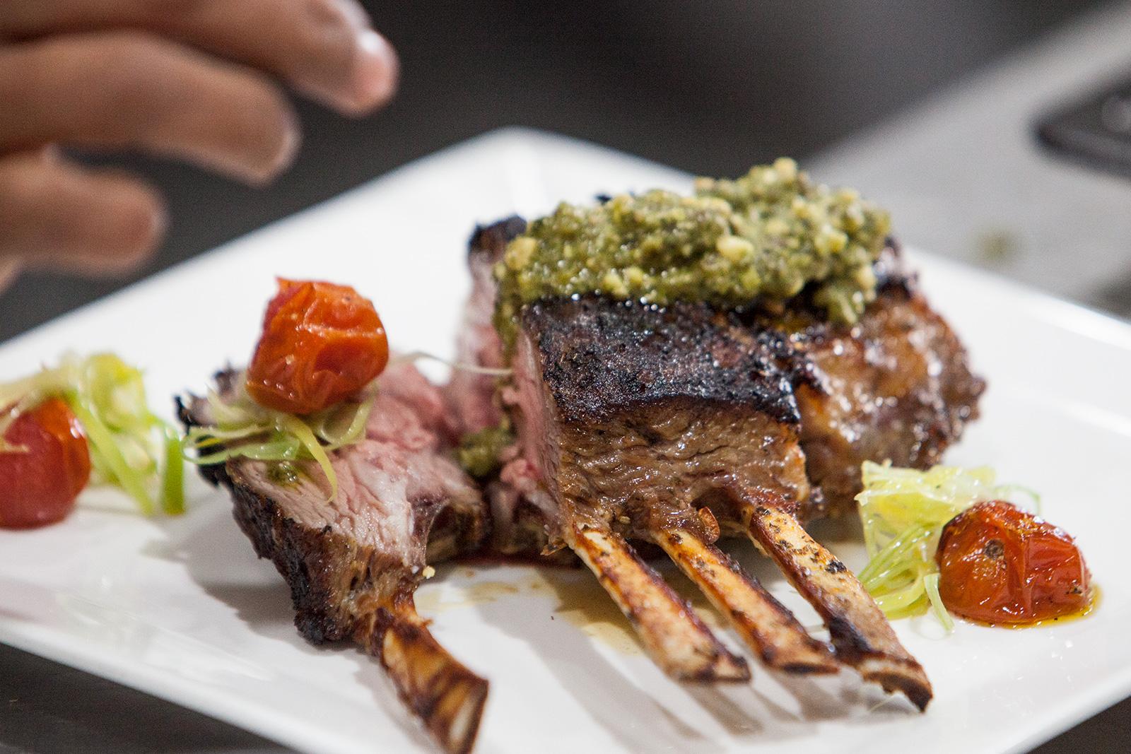 Lamb with pesto and veggies
